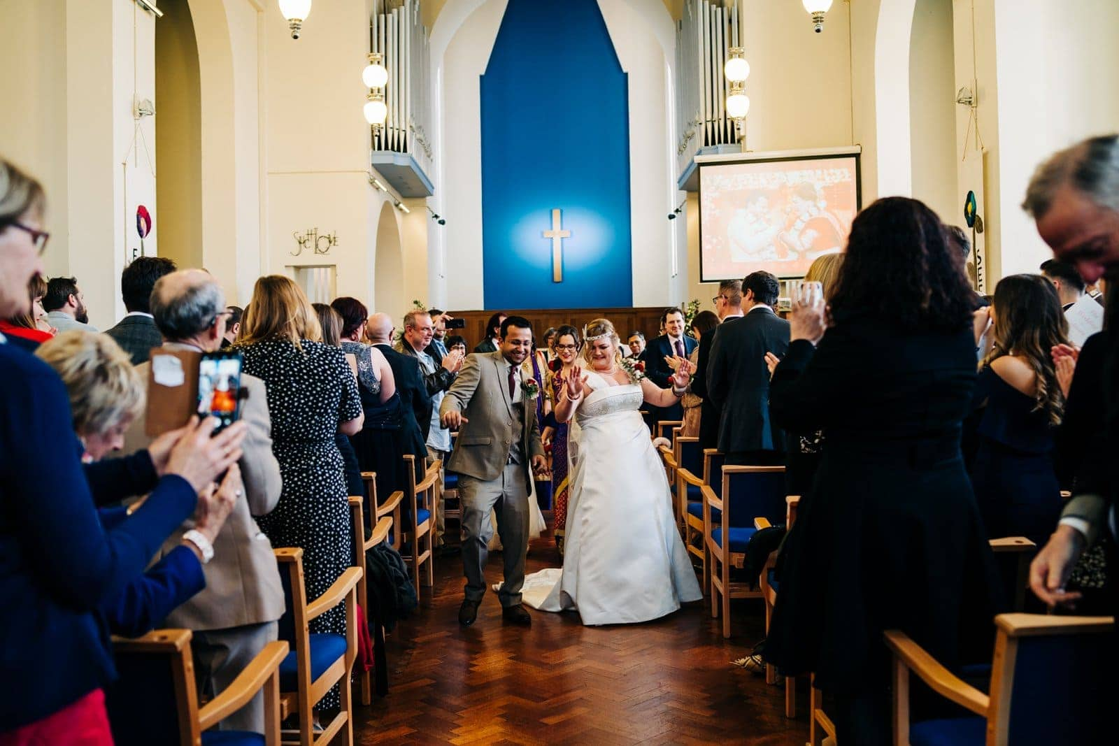 bride and groom, just married, derby church