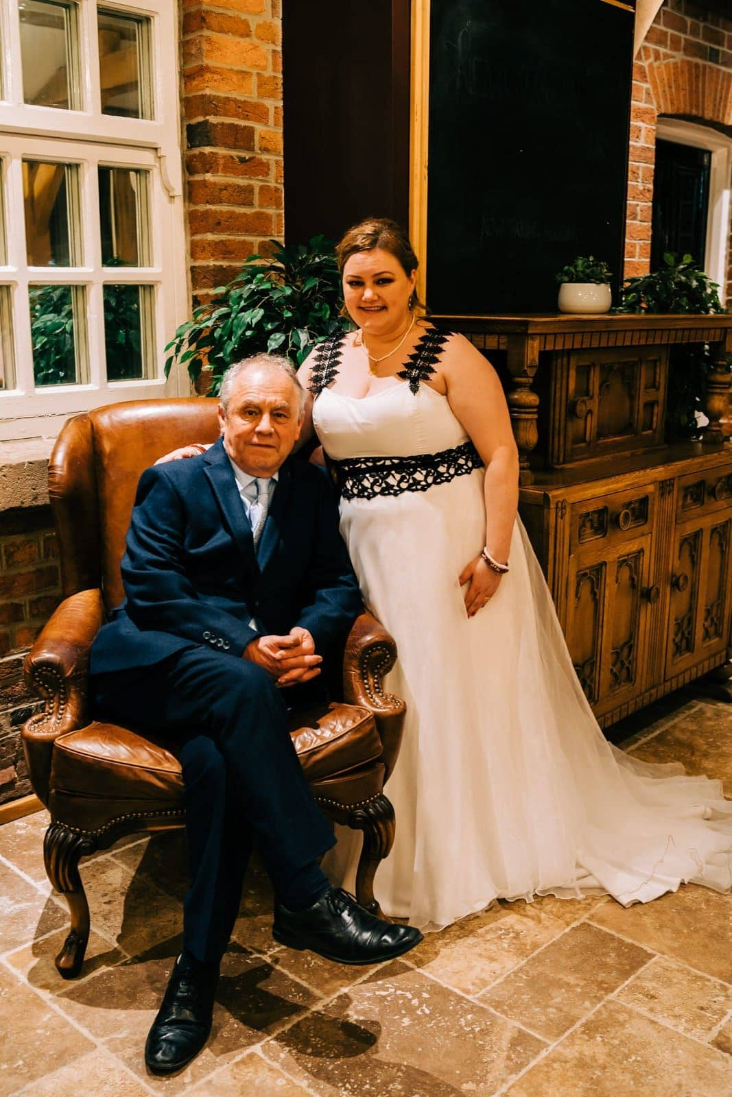 father of the bride, just married, bride and dad