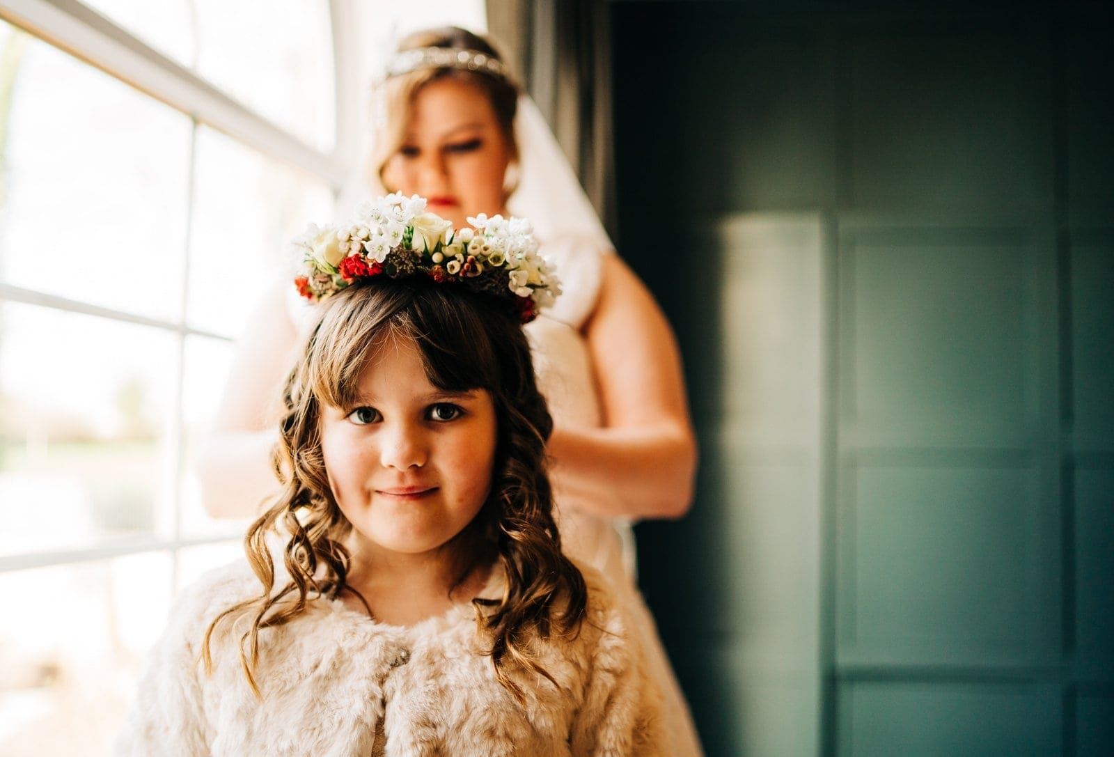 Bridesmaid, flower girl, derby wedding