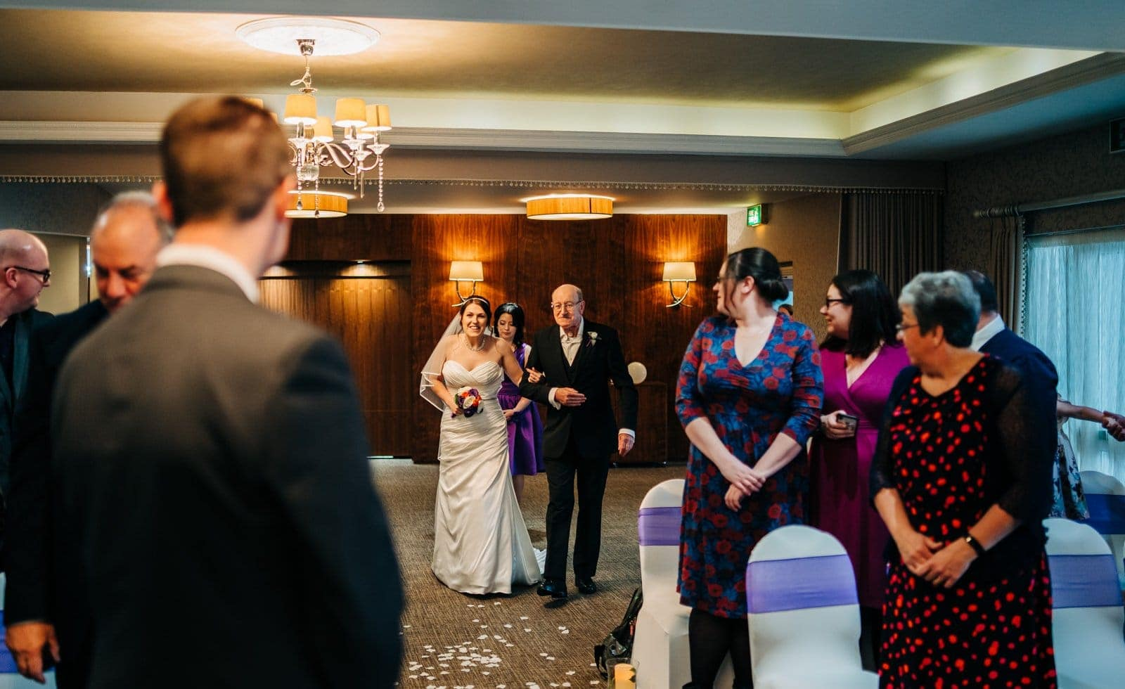 wedding aisle, wedding dress, horsley lodge, wedding photographer